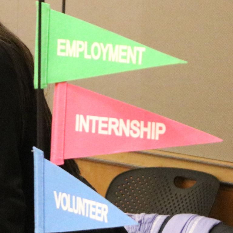 Pennants with the words internships, employment, and volunteer