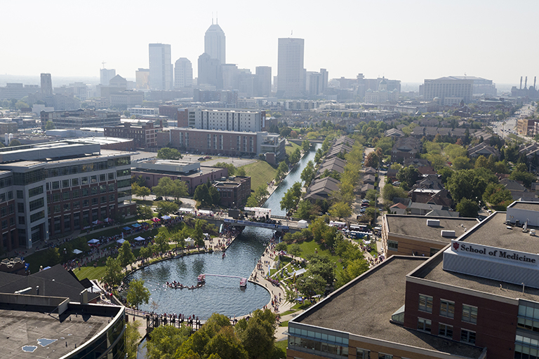 Aerial photo of the downtown Indianapolis skyline and canal.